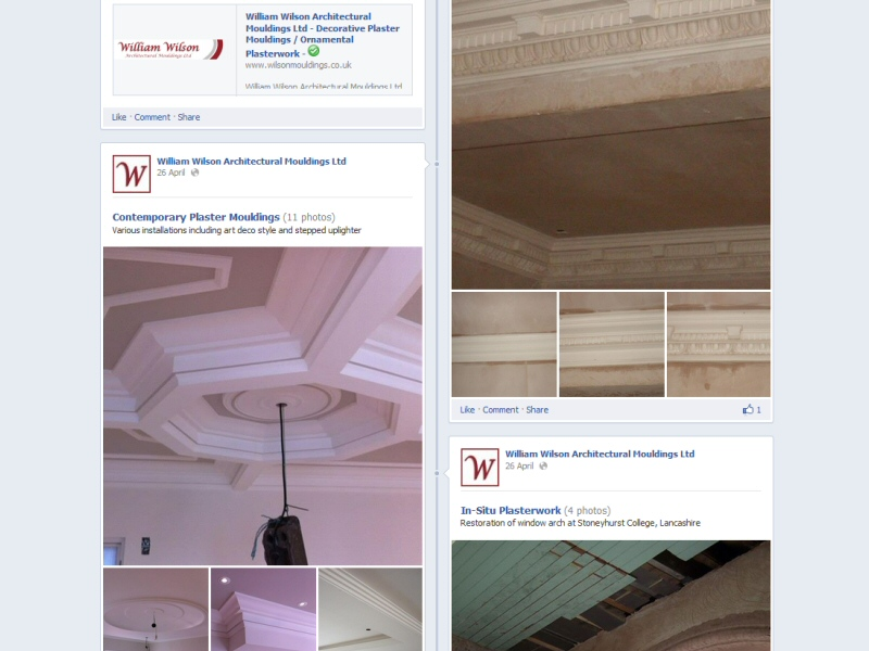 William Wilson Architectural Mouldings Ltd (Facebook Page) Website, © EasierThan Website Design