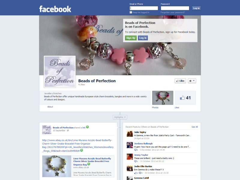 Facebook page created to work alongside the client's eBay shop selling jewellery