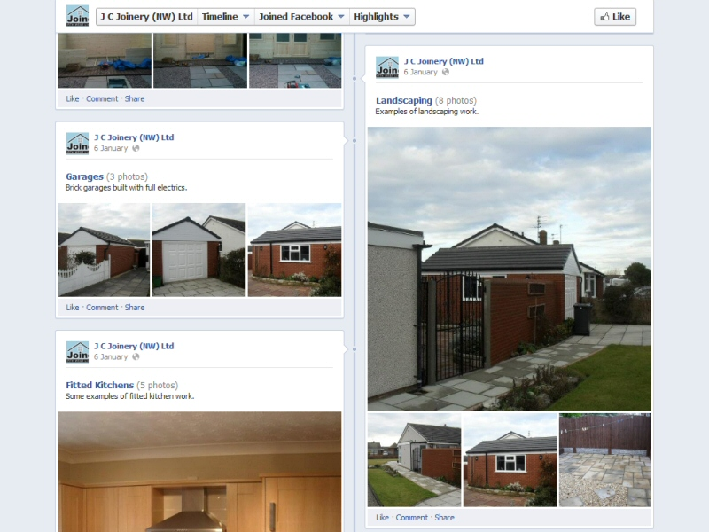 J C Joinery (NW) Ltd (Facebook Page) Website, © EasierThan Website Design